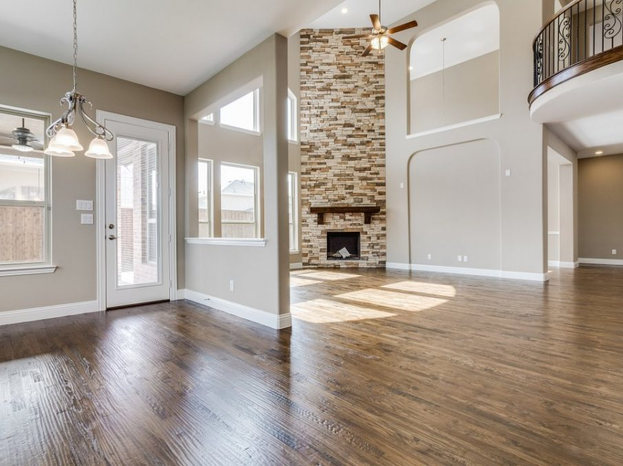 Landon Homes New Home Builder 798 Montblanc Breakfast Nook Wood Floors and Peek-through Window to Family