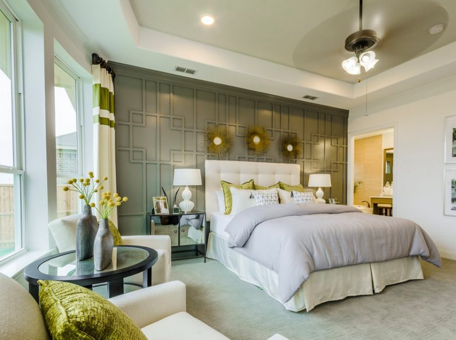 Landon Homes new home builder 433 Montrose Master bed grey and yellow decor