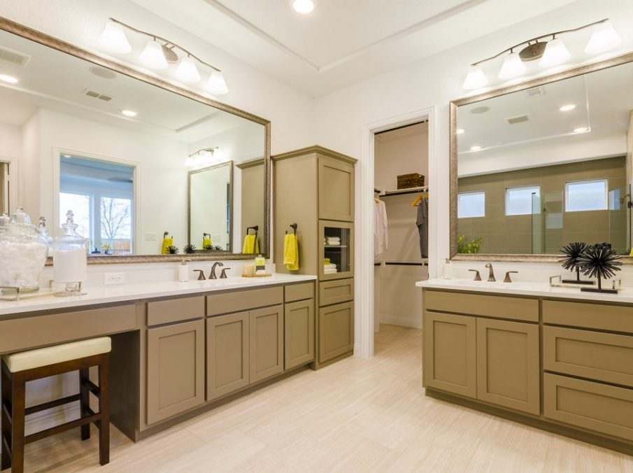 Landon Homes new home builder 433 Montrose Master Bath double vanity and walk-in closet