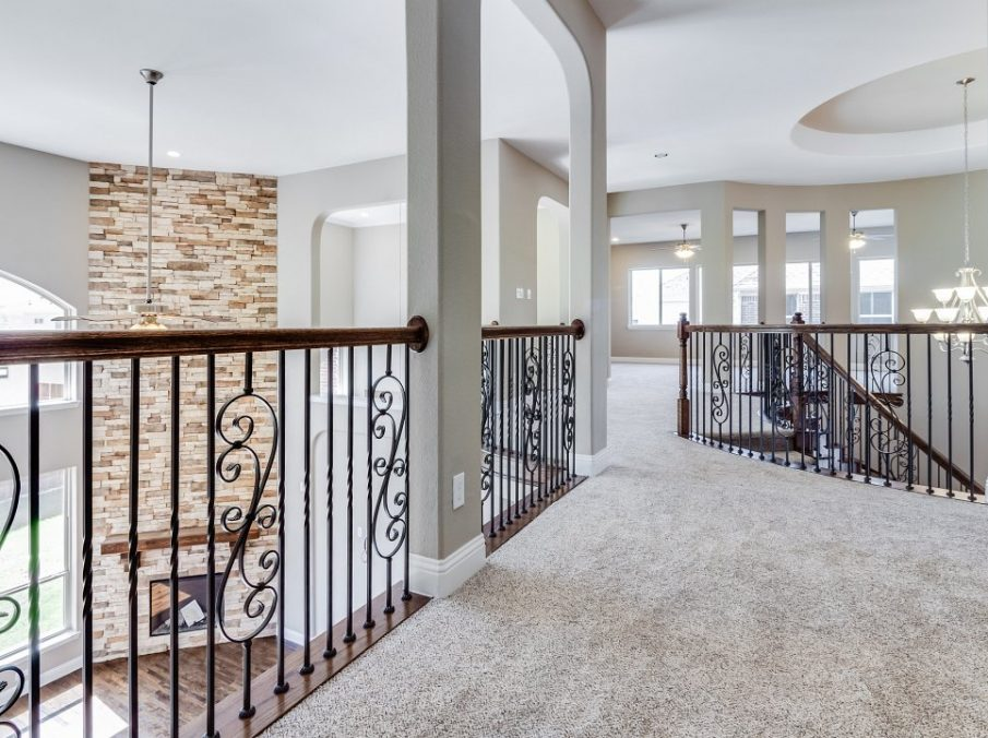 Landon Homes New Home Builder 798 Montblanc Staircase Landing with Carpet and View to Below