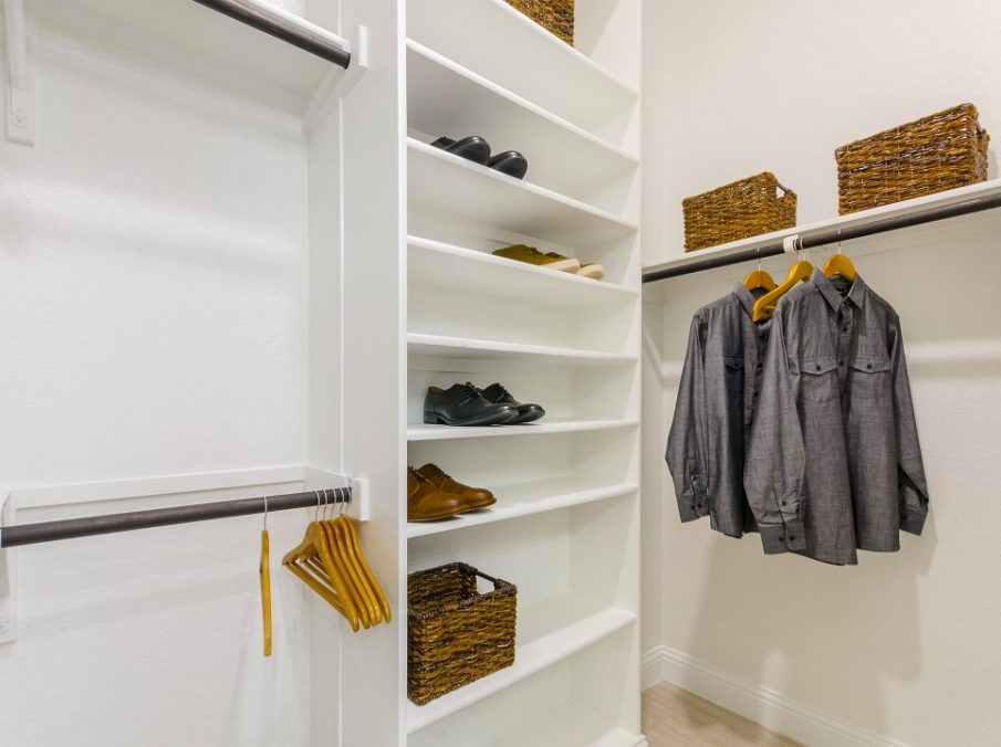 Landon Homes new home builder 433 Montrose Master Closet walk-in with white paint and shoe shelf