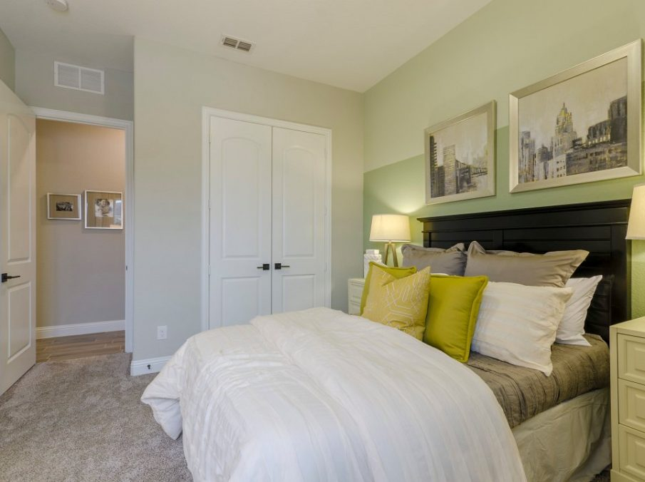 Landon Homes new home builder 433 Montrose Guest Bedroom white and yellow
