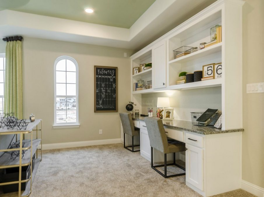 Landon Homes new home builder 433 Montrose Bult-in white Desk and shelves