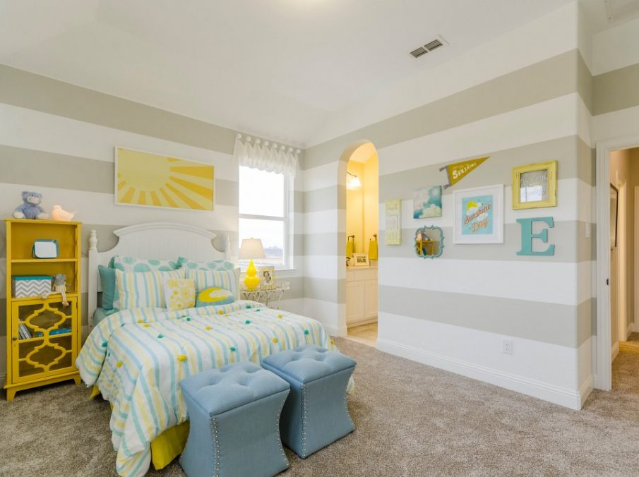 Landon Homes new home builder 433 Montrose Kids Bedroom tan yellow and blue