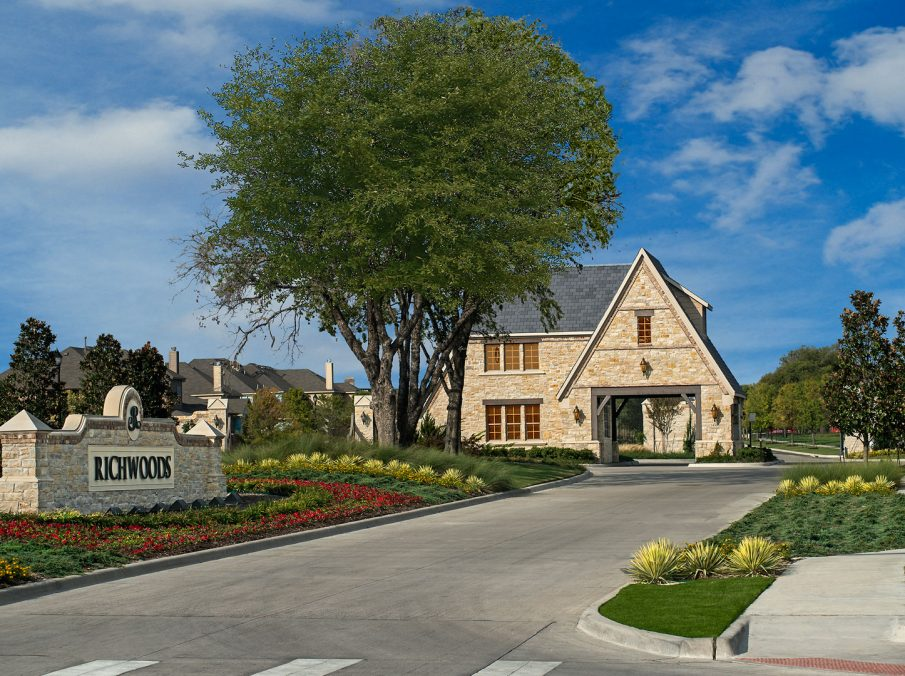 Landon Homes in Gated community Richwoods, Frisco TX Entrance