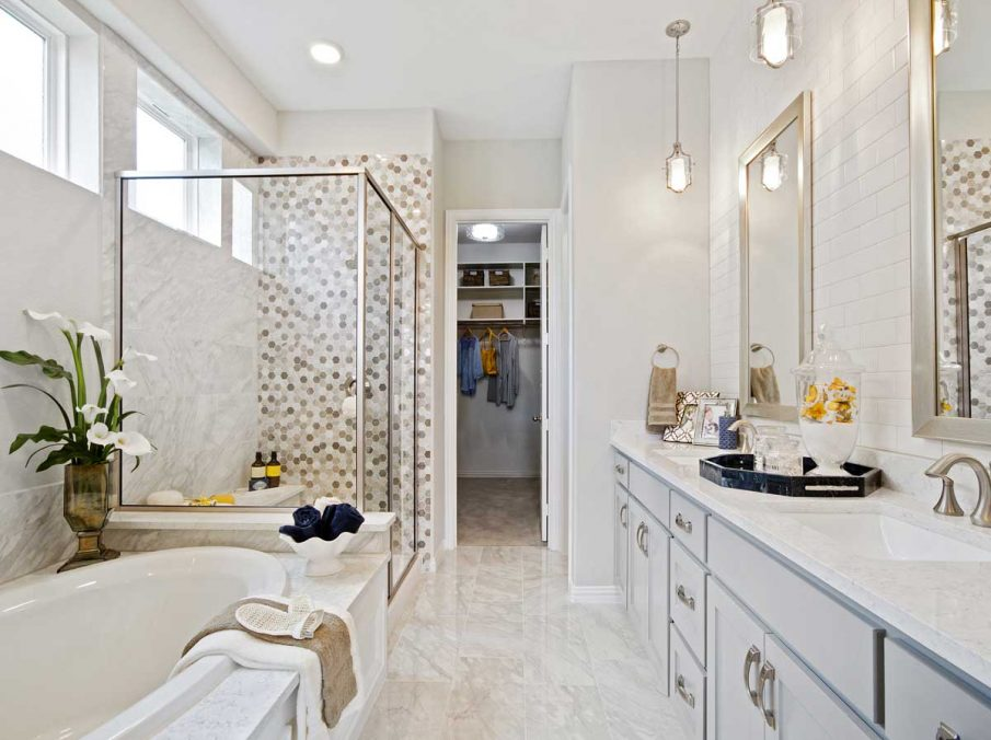 4655 Wellington Landon Homes Decorated Master Bathroom Light Grey Painted Cabinets with Gold Accessories