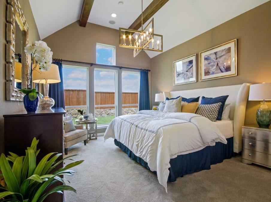 4655 Wellington Landon Homes Decorated Master Bedroom Carpet and Light Brown Walls