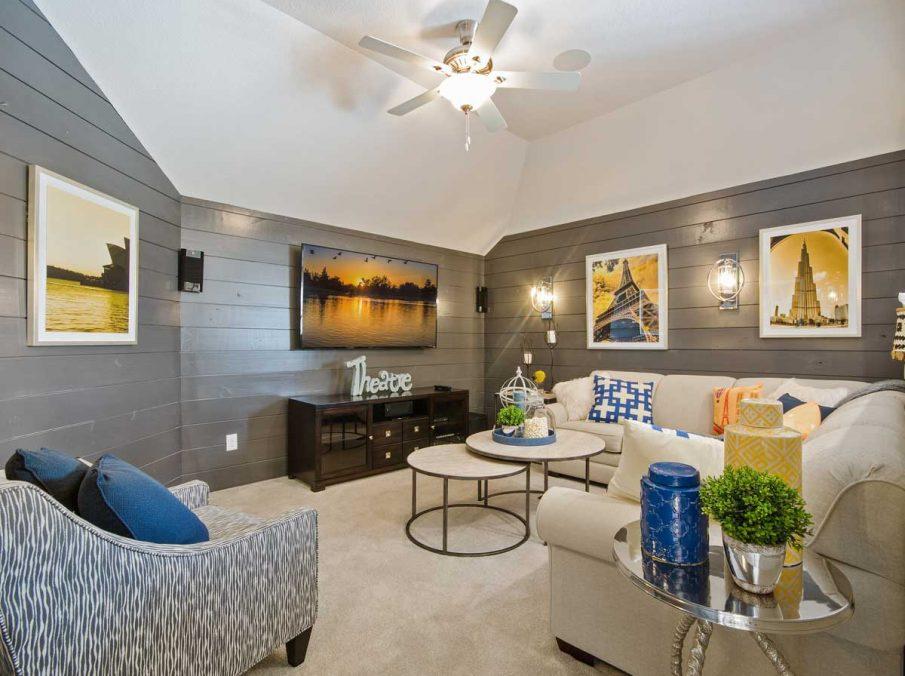 4655 Wellington Landon Homes Decorated Media Room Dark Grey Ship-lap Walls