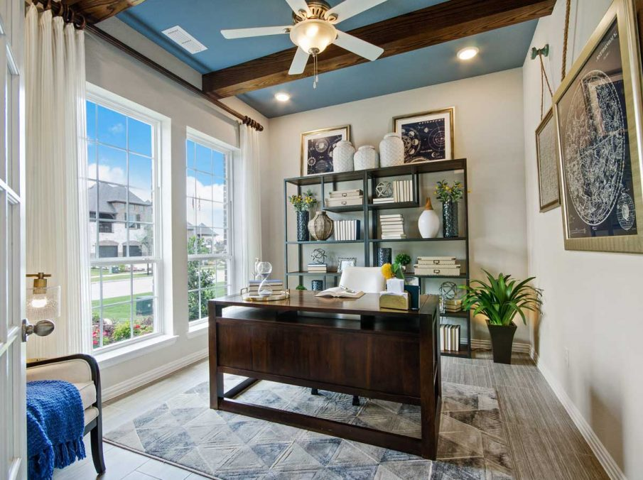 4655 Wellington Landon Homes Decorated Study with Dramatic Ceiling Beams