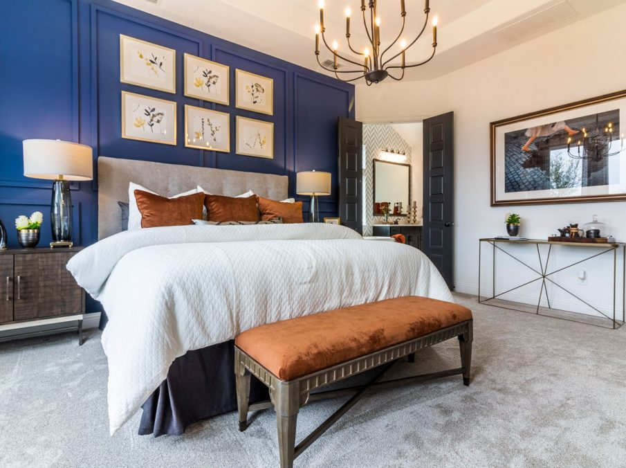 Landon Homes 675 Newbridge Master Bedroom Accent Wall Blue