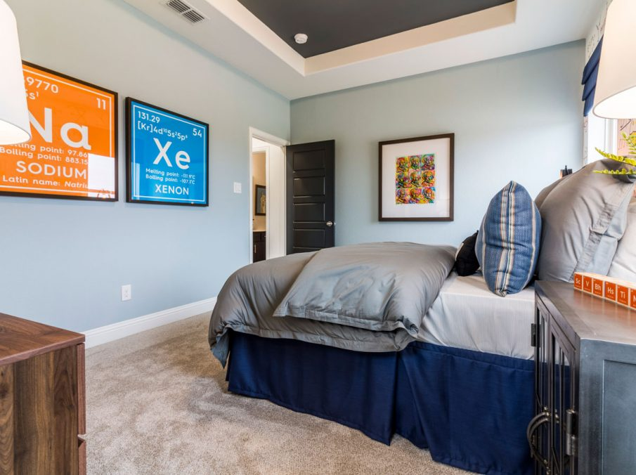 Landon Homes Decorated Bedroom with Accent Ceiling Detail
