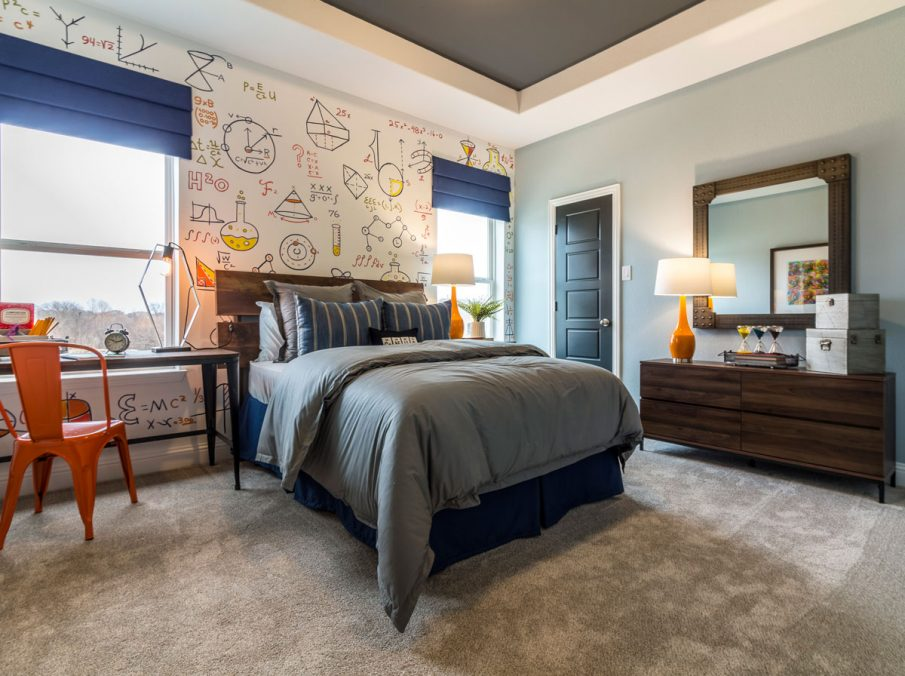 Landon Homes 675 Newbridge Decorated Bedroom with Carpeting