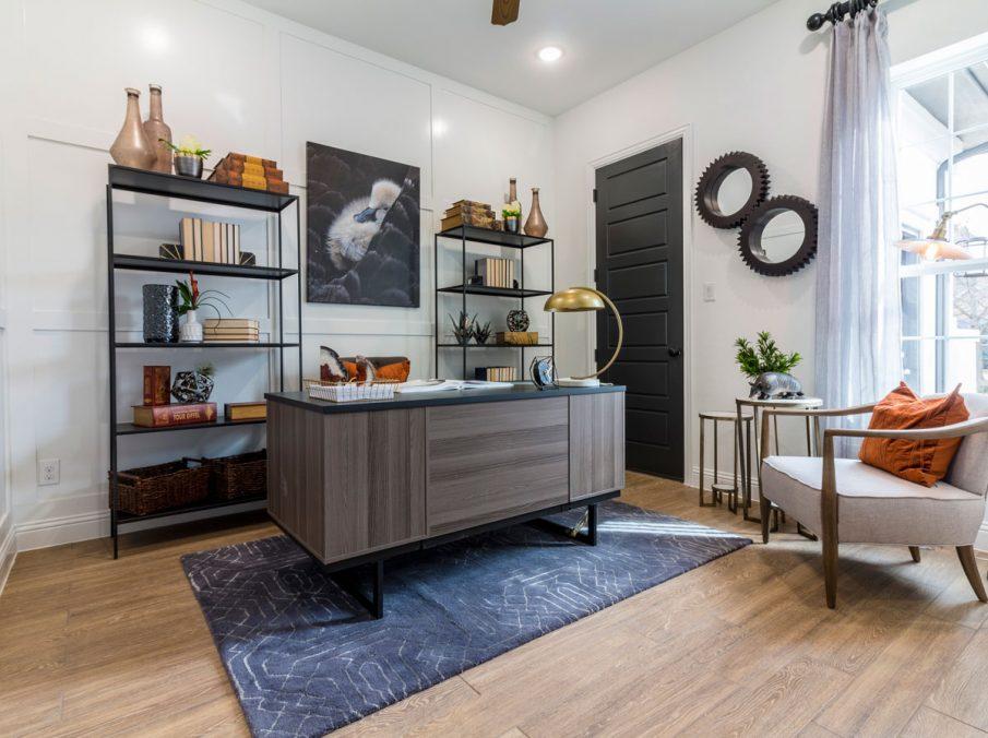 Landon Homes 675 Newbridge Decorated Study with Wood Flooring